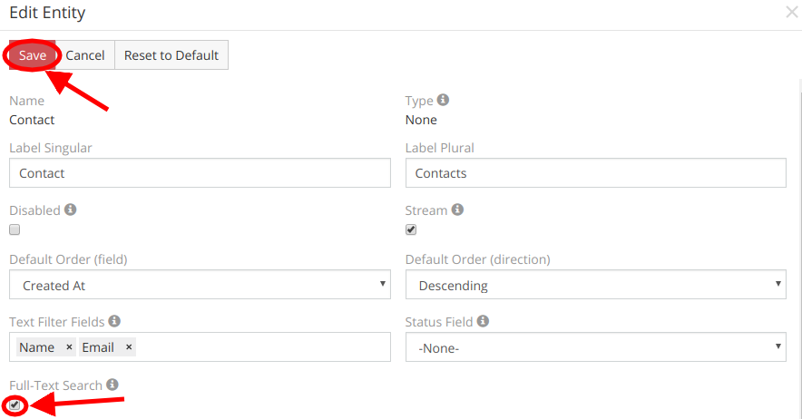 Full Text Search Settings