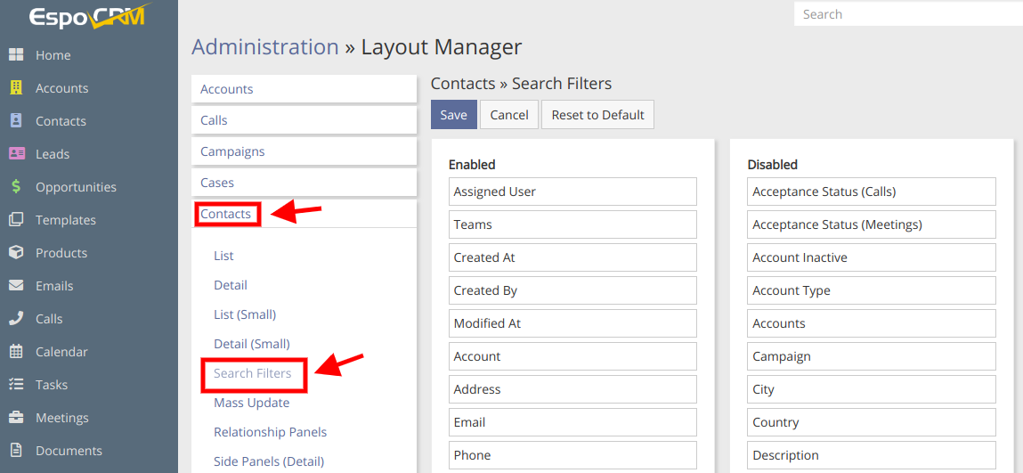 Edit Search Layout