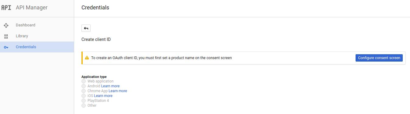 Google Create New Client ID